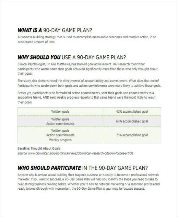 Sample 90 Day Plan Template