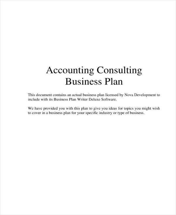 Sample Accounting Consulting Business Plan