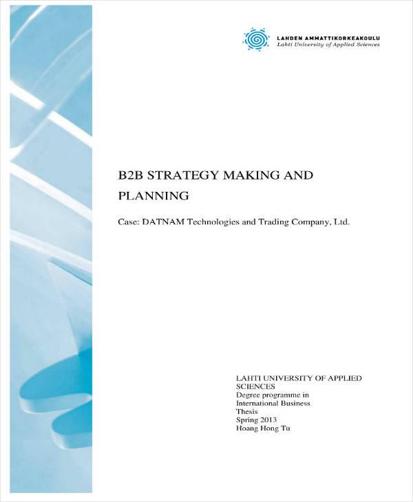 Sample B2B Business Plan