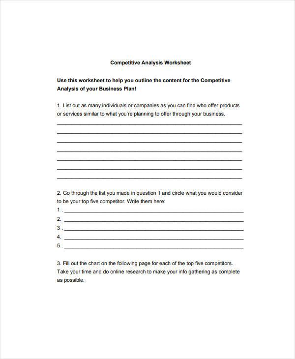 sample competitive analysis worksheet