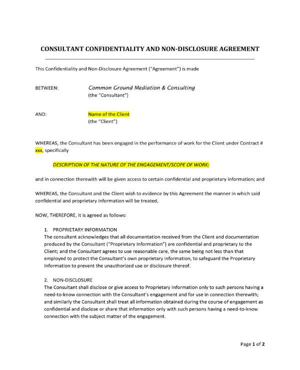 sample consultant confidentiality agreement 1