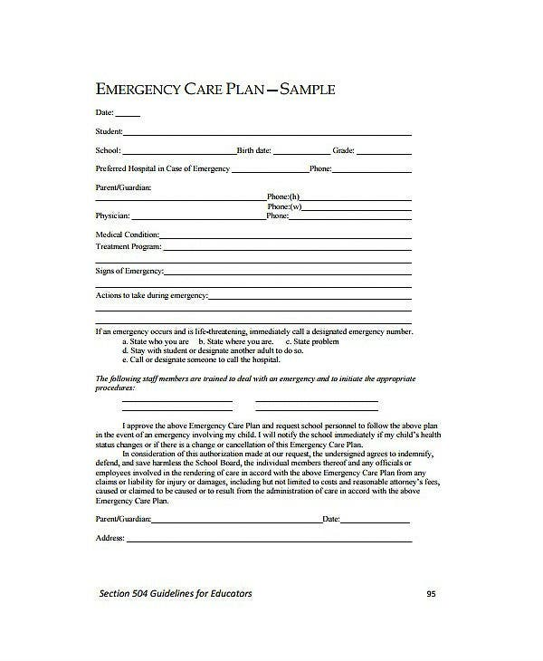sample emergency care plan template