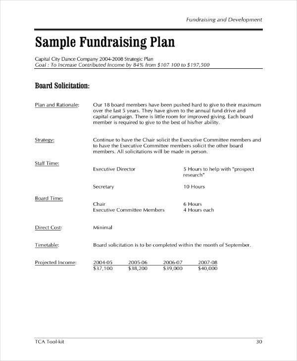 sample fundraising plan