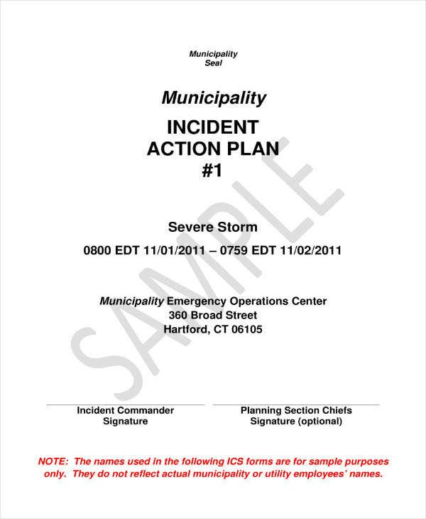 sample incident action plan