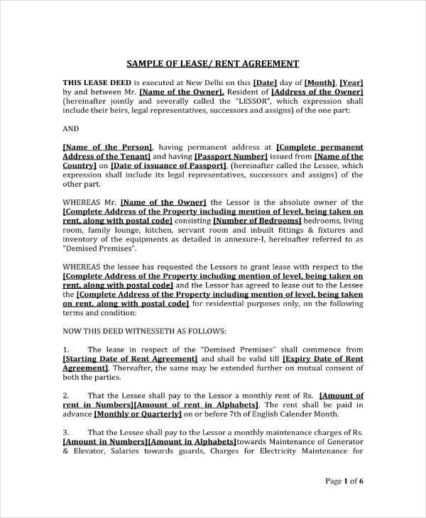 Sample Individual Rent Agreement