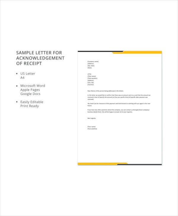 receipt acknowledgement letter templates 10 free word pdf format