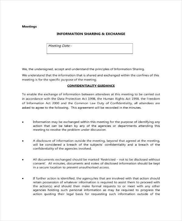 Sample Meeting Confidentiality Agreement