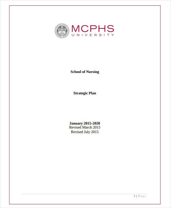 sample nursing college strategic plan