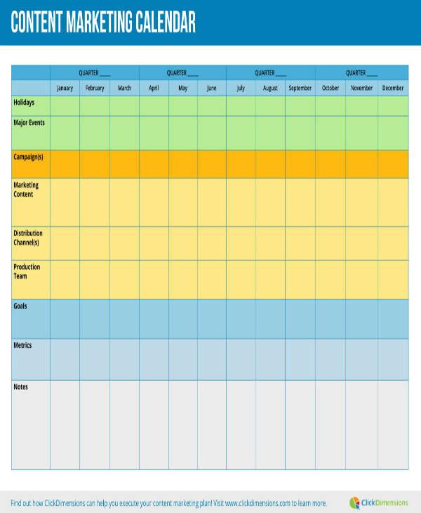 Sample Restaurant Marketing Planning Calendar
