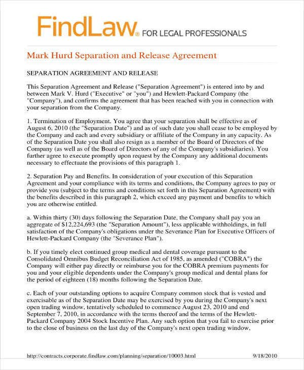 13  separation and release agreement templates