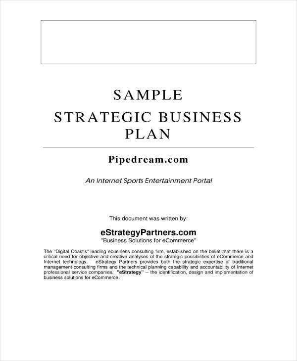 sample strategic business plan