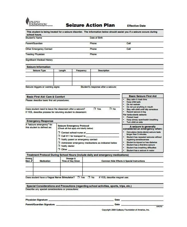 seizure emergenc action plan template