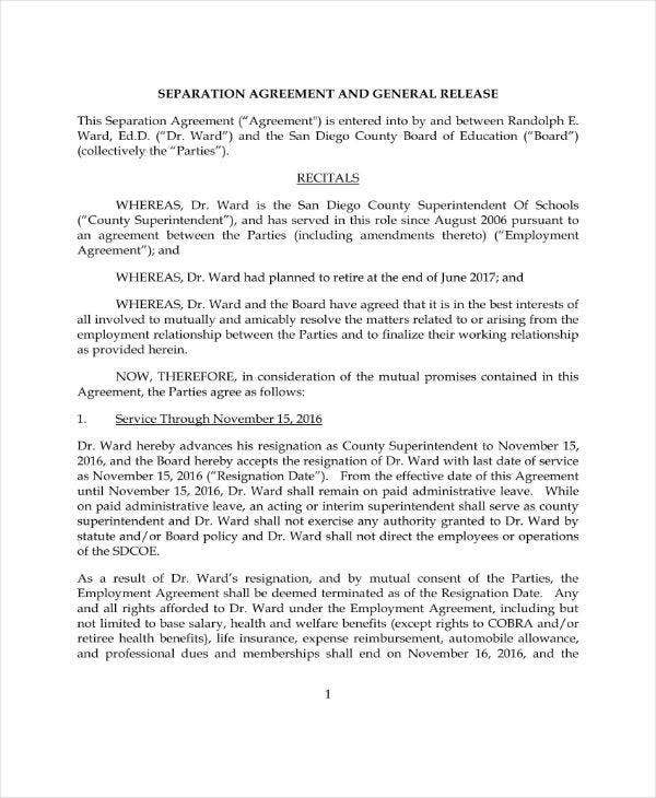 Separation and General Release Agreement