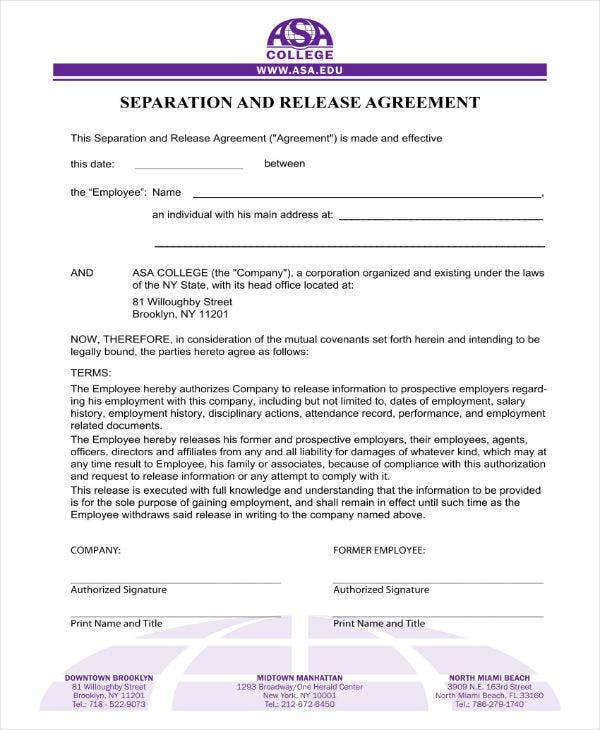 Separation and Release Agreement Form