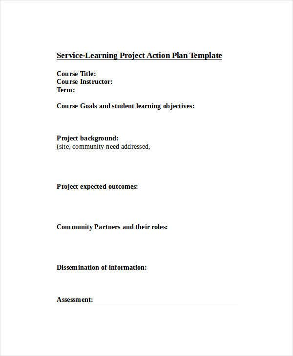 service learning project action plan