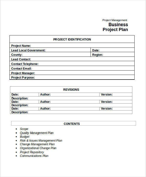 Simple Business Project Plan Template