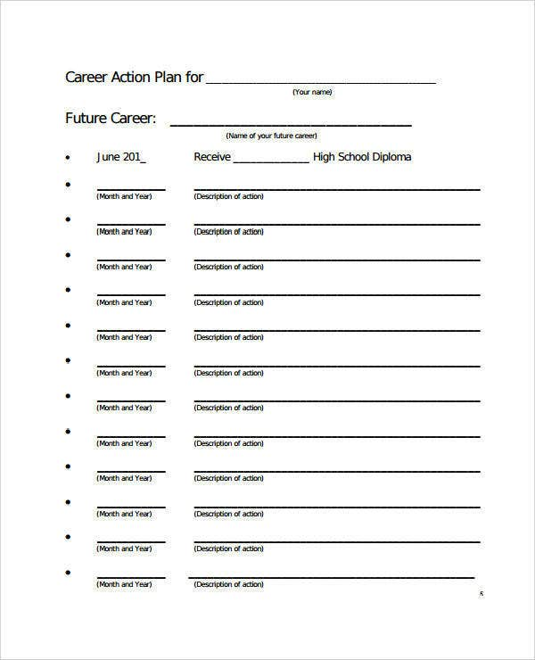 Simple Career Action Plan Example