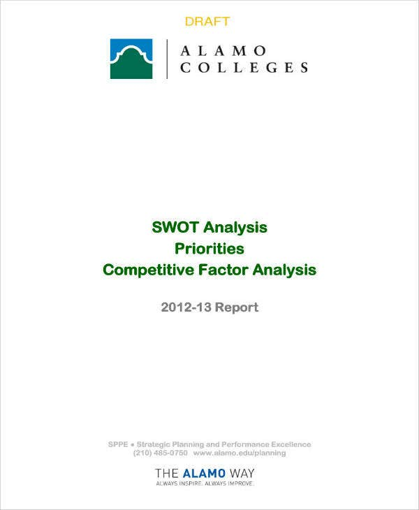 simple competitive factor swot analysis