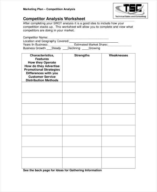 12+ Worksheet Competitor Analysis Templates - PDF, Word ...