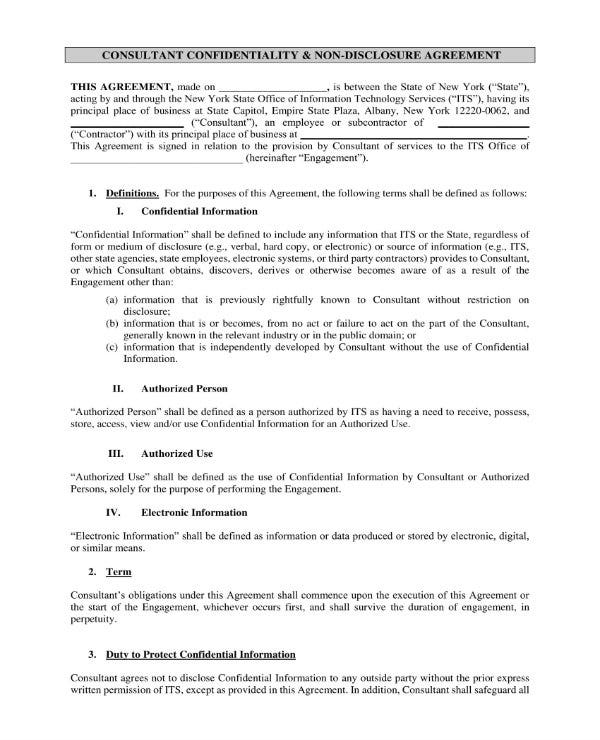 simple consultant confidentiality agreement 1