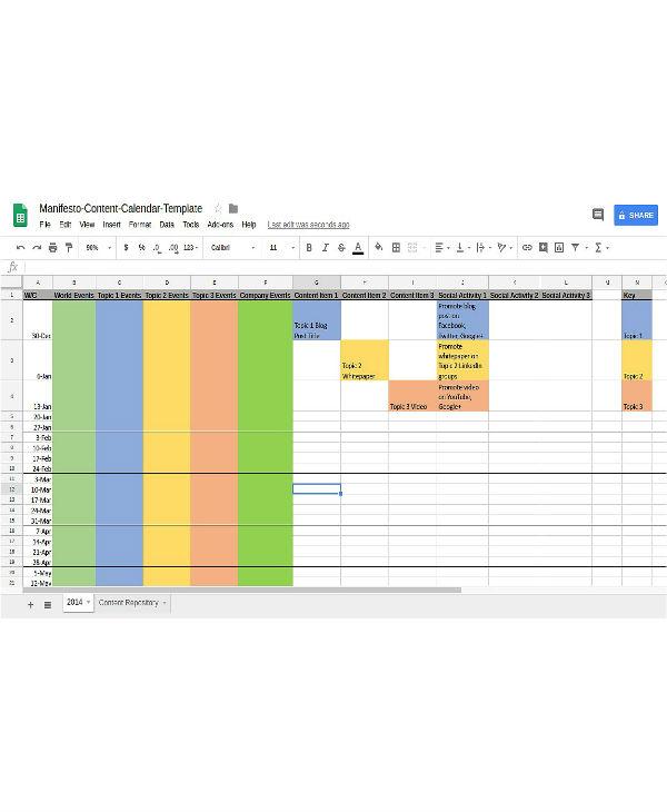 simple content marketing calendar template