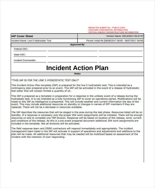 simple incident action plan