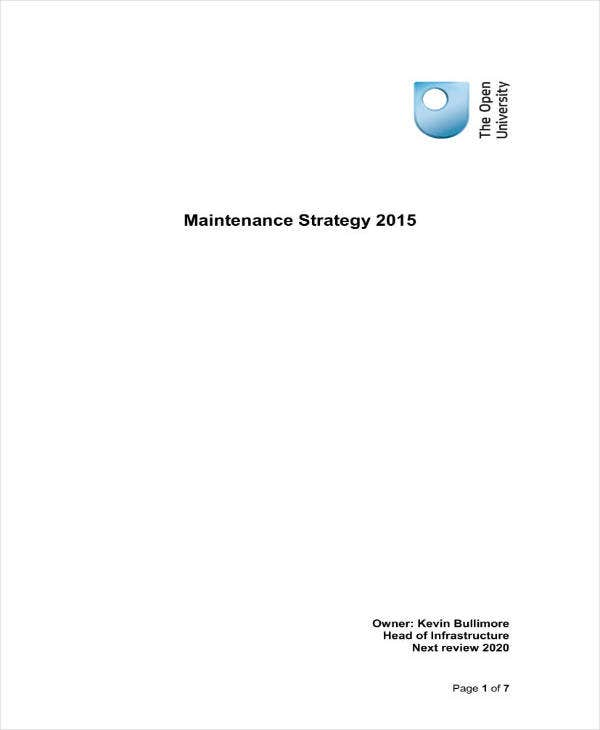 Simple Maintenance Strategic Plan