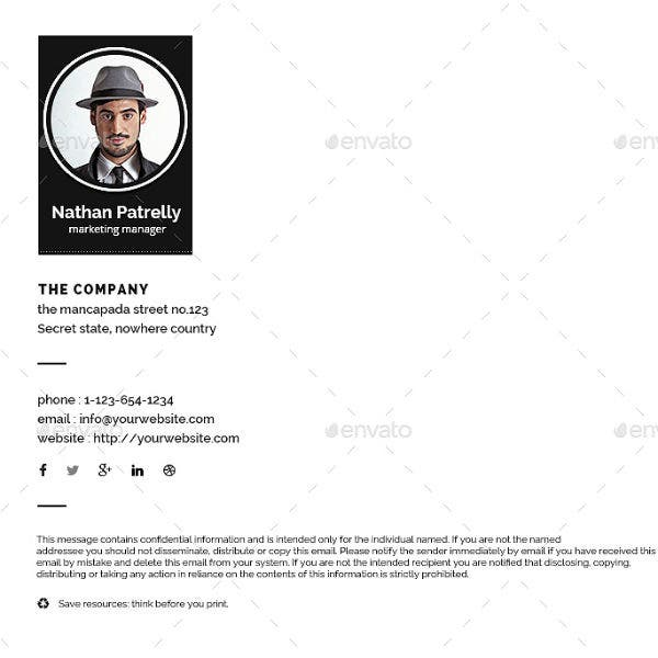 simple marketing manager email signature template