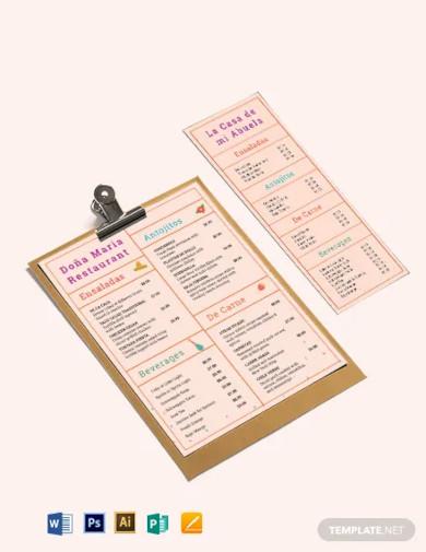 simple mexican menu template