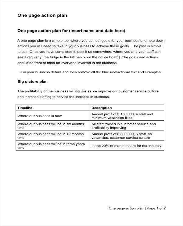 Simple One Page Action Plan in DOC
