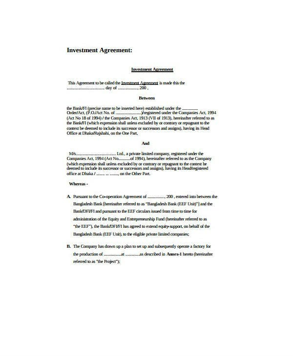 simple personal investment agreement template