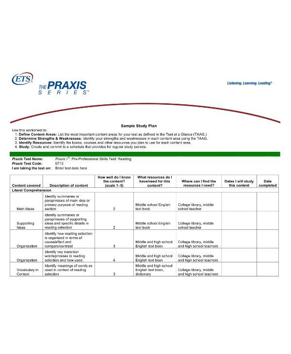 simple study planner sample