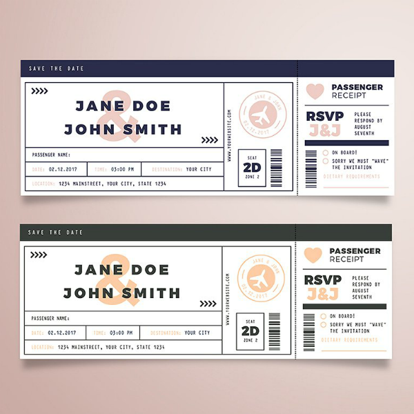 Simple Wedding Boarding Pass Ticket