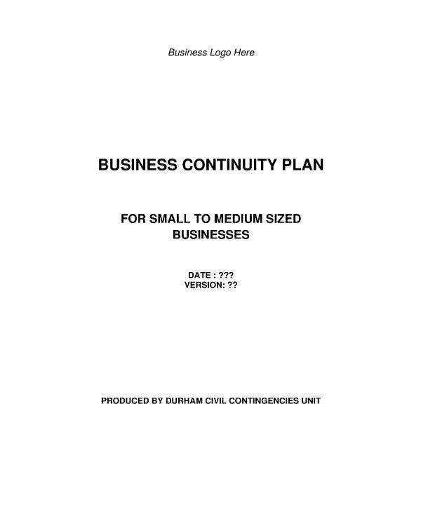 small business and voluntary organisation business continuity plan template