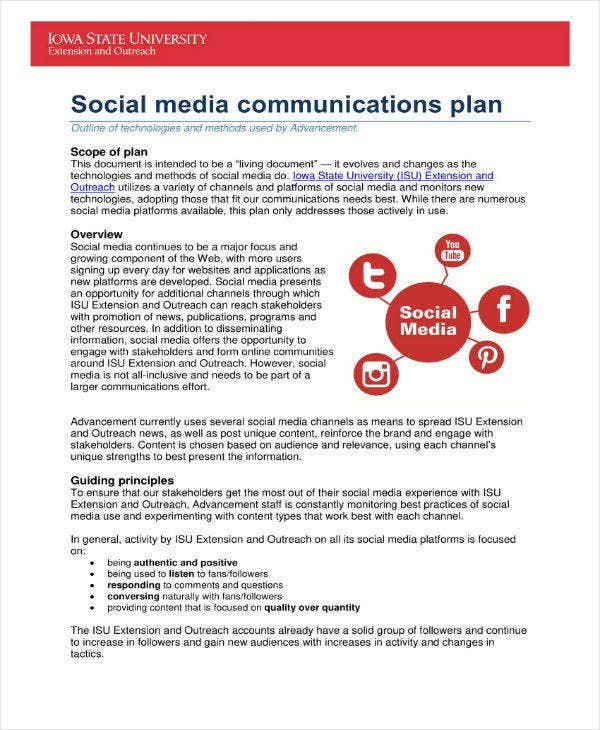 Social Media Communications Plan