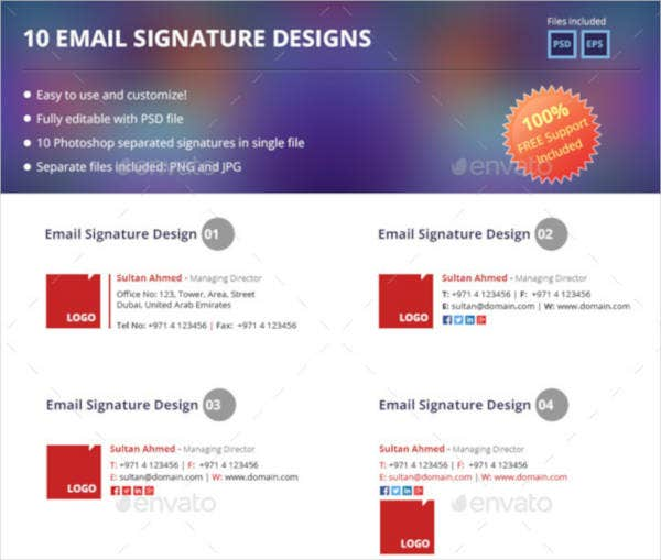 Social Media Email Signature Example