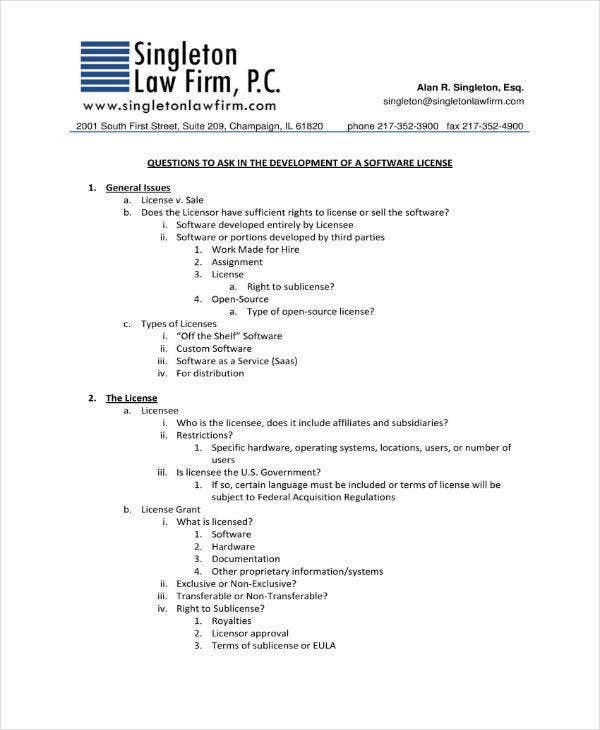 11 Software Development And License Agreement Templates Pdf Word