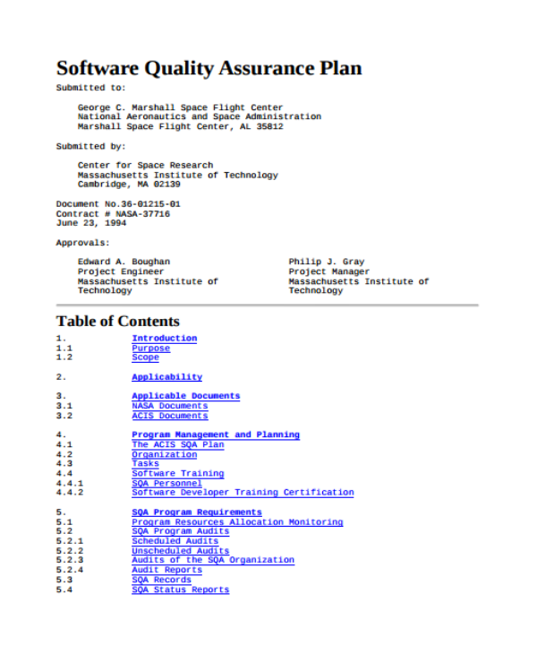 software quality assurance plan template