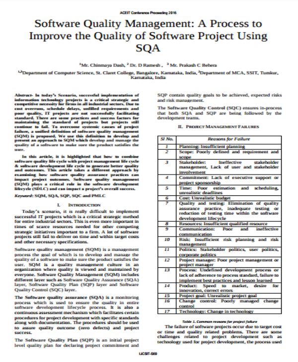 software quality management template