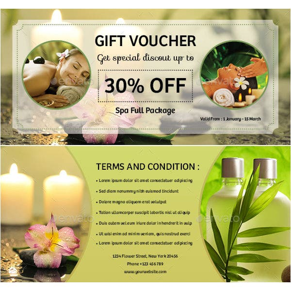 spa gift voucher card indd template