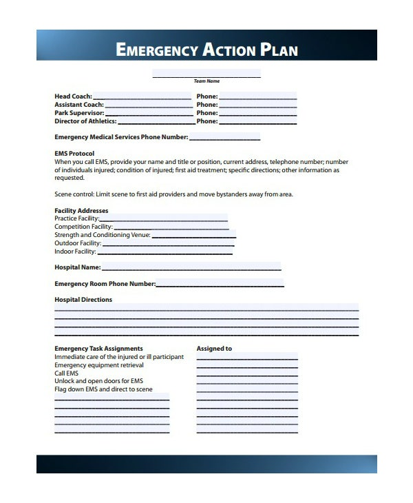 sports emergency care action plan template