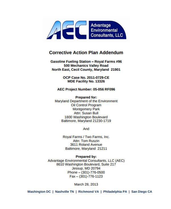 standard corrective action plan