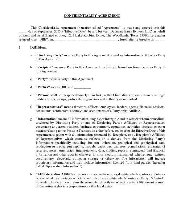 standard generic confidentiality agreement