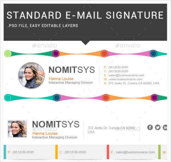 Standard Management Email Signature Template