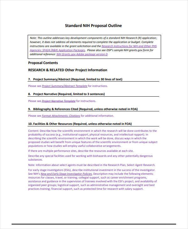 standard proposal outline