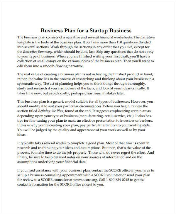 startup business project plan