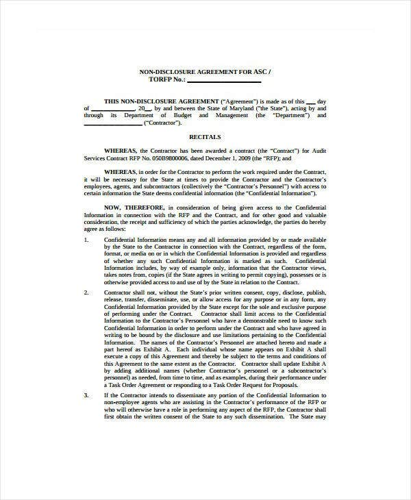 State Audit Confidentiality Agreement