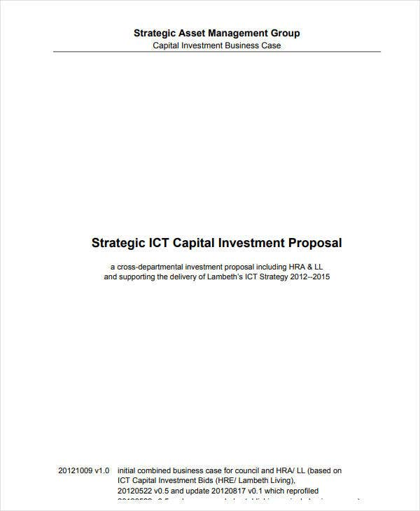 strategic capital investment proposal