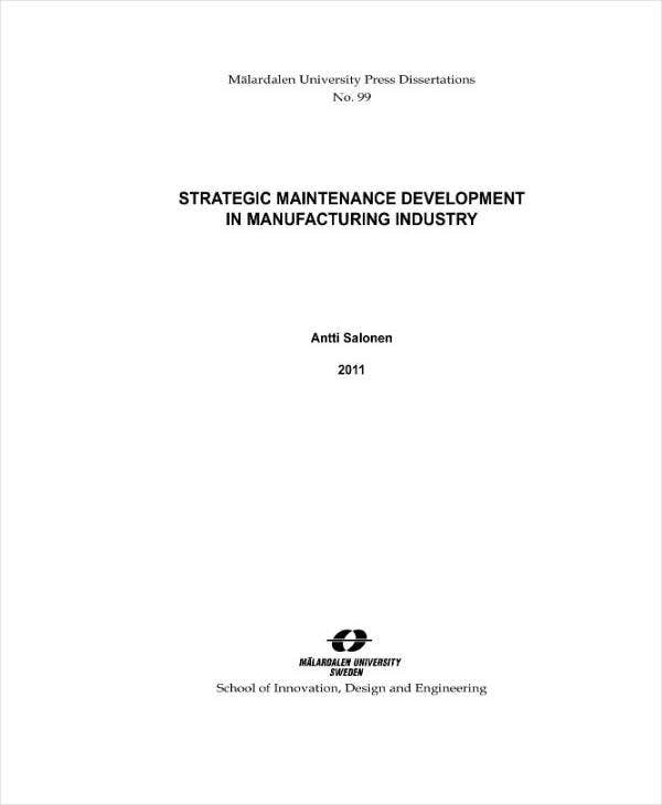Strategic Maintenance Development Plan