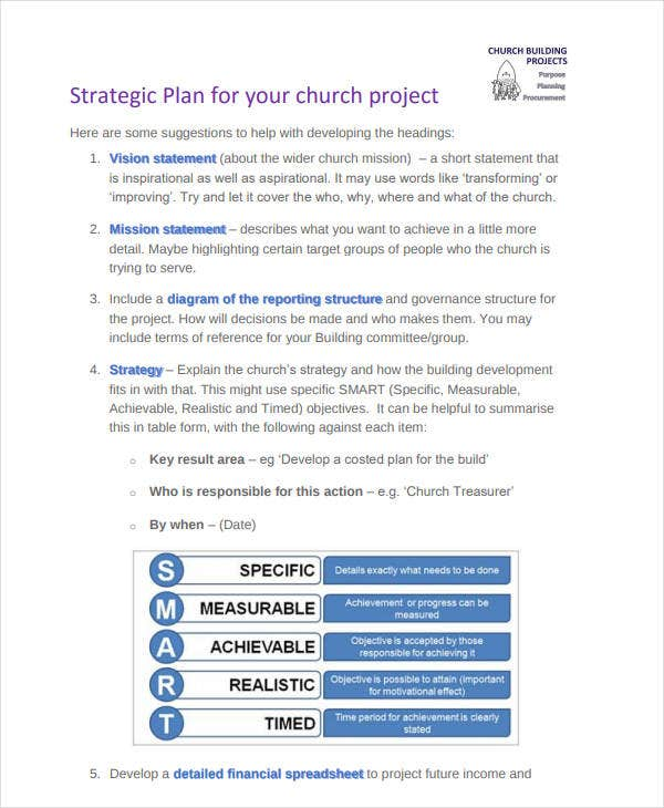 strategic plan for your church project
